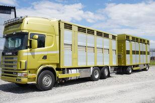 SCANIA R164 V8 , 6x2 , 2 hydraulic decks , 70m2 , live stock  hayvan nakil aracı + römork hayvan nakil aracı