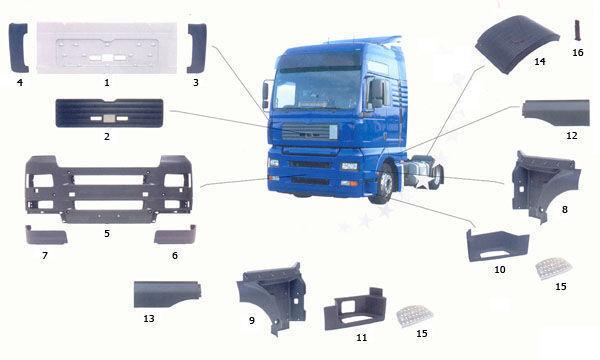 yeni MAN TGA kamyon için 81615100399. 81615100401,81615100400 basamak